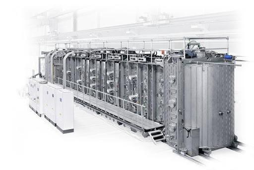 Industrial vertical inline sputter coater for displays