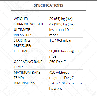 Gamma Vacuum Titan CV 100L pump specifications