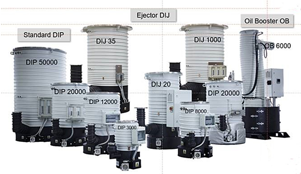 Variety of oil diffusion pumps from 3,000 to 50,000 l/s . Source: Leybold